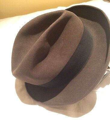 Vintage Mens Trilby Hat .made In Oxford Street . London . Brown .