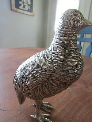 silver colored metal Partridge/quail figurine