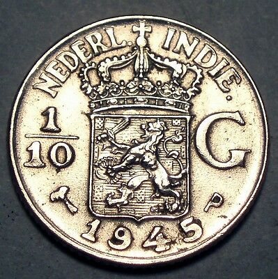 NETHERLANDS EAST INDIES 1/10 GULDEN 1945 P UNC Silver.