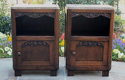 Antique French PAIR Oak Marble Top Cabinets Nightstands End Tables ART DECO