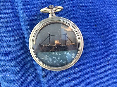 """Antique """"Ship in a Fob Watch"""" genuine antique in old Fob Watch Case"""