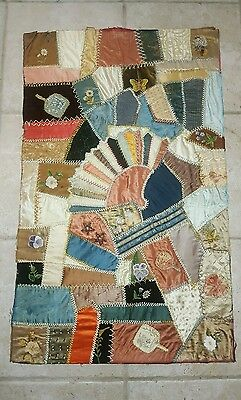 Patchwork Crazy Quilt Velvet Silk Embroidered Painted Flowers Fans Panel 31x19""
