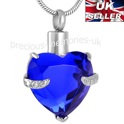 Blue Heart Ashes Necklace - Funeral Cremation Jewellery -  Ash Urn Pendant