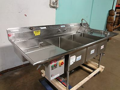 """AMERICAN DELPHI"" COMMERCIAL H.D. 3 COMPARTMENT SINK w/SPRAYER WAND, EPC CTRL BX"