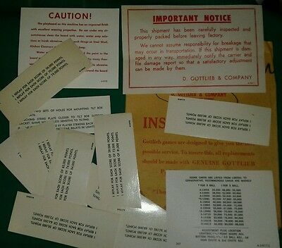 GOTTLIEB DUOTRON PINBALL MACHINE SCORECARDS lot#22
