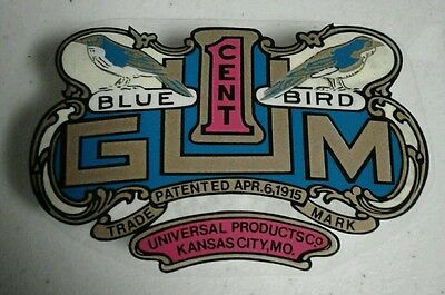 Universal Products Gumball Vending Machine Decal Blue bird  coin operated part