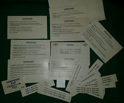 BALLY HI-DEAL PINBALL MACHINE SCORECARDS lot#19