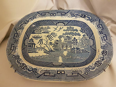 Large Willow pattern meat platter under glaze makers mark and LONDON ANCHOR  16""