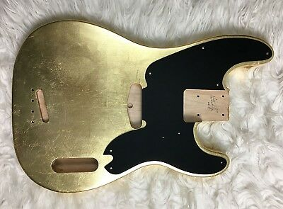 Body bass Fender Precision 51 style GOLD LEAF foglia d'oro GLOSSY red alder