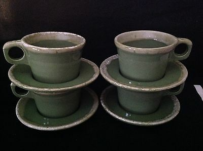 Hull Pottery Crestone Avocado Cup & Saucer Sets 8 Pieces