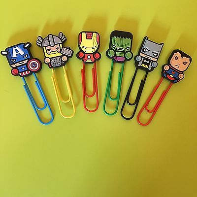 Marvel Superhero paper clip style bookmarks