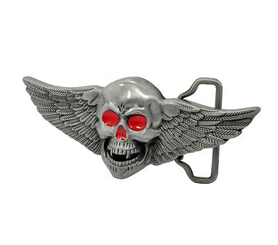 Silver Skull with Wings Red Eyes Belt Buckle Painted Metal Cool Unique Hip New