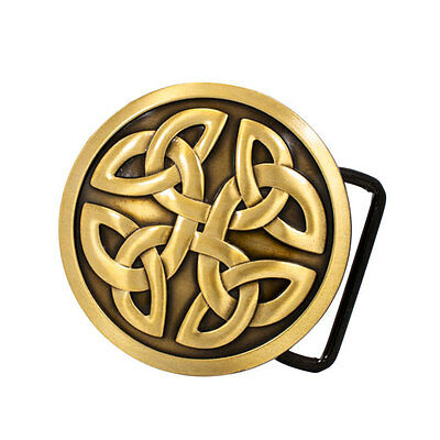 Bronze Celtic Cross Knot Mystic Circle Metal Belt Buckle Irish Triquetra Gothic