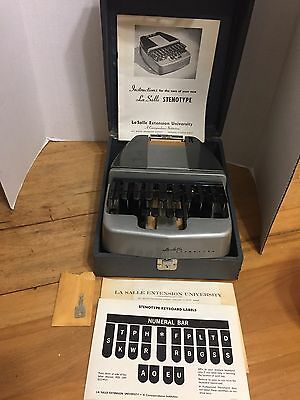 Vintage La Salle Stenotype, Stenograph, Instructions/Case/Key, Keyboard Labels.
