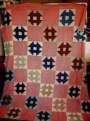 Antique Quilt Top 1900 Era RED INDIGO BLUE Churn Dash Indigo 71x80