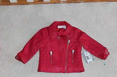 Super Cute Amy Coe NWT Baby Girls 9 Months Faux Leather Red Jacket