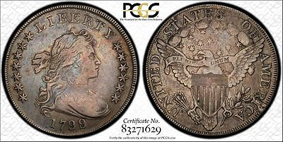 1799/8 Draped Bust Dollar PCGS VF Details Cleaned 13 Reverse Stars