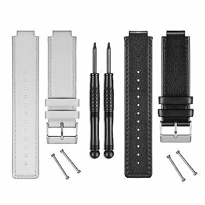 Garmin Vivoactive Leather Watch Band Kit with Pins and Tools (Black or White)