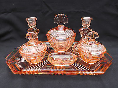 Pink Depression Glass 7Pce Dressing Table Set