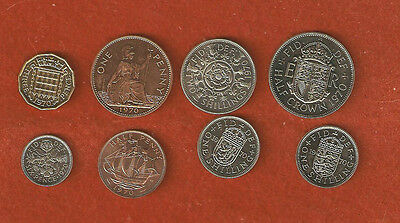 Set of 8 1970 Great Britain Coins Taken from Mint Set (Both Shillings)  nice set