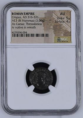"NGC Roman Nummus, CRISPUS, Doomed Son Of CONSTANTINE Graded ""About Uncirculated"""