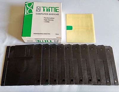 """Box of 10 Time high density 3.5"""" 1.44MB DOS format blank floppy disks E"""