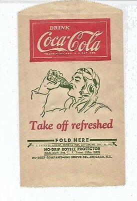 No Drip Bottle Protector Paper Sleeve  Coca-Cola   1932