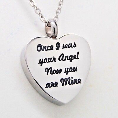 "Heart with ""Once I was your Angel Now you are Mine"" Cremation Urn Necklace"
