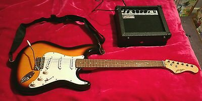 Johnny Brook Sunburst Electric Guitar with 15w Amp and gig bag