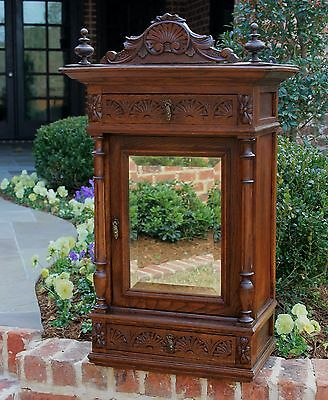 Antique French Carved Oak Wall Hanging Mirrored Medicine Wall Cabinet 2 Drawers