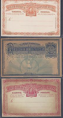 HONDURAS 1890s 1900 COLLECTION OF 6 MINT POSTAL CARDS ONE W/REPLY CARD VERY FINE