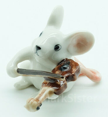 Figurine Animal Ceramic White Rat Mouse Mice Playing Violin Musical - FG008-1
