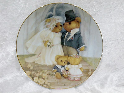 """Franklin Mint Collector Display Plate - Teddy Bears - Just Married vgc 8 1/8"""""""