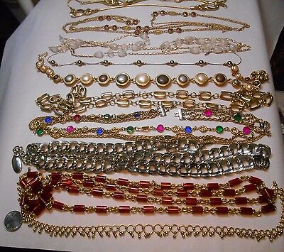 Nice Vintage Lot Of 10 Gold Silver Tone Necklaces,1 Trifari,glass,crystal,pearl