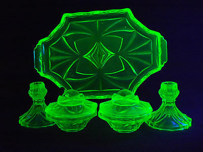 Sowerby Uranium Green Depression Glass 5Pce Dressing Table Set