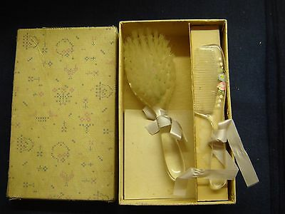 Vintage Baby Hair Brush and Comb Set with Box