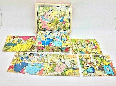 Vintage Hermann Eichhorn Fairy Tales Wooden Blocks Puzzle Made In Germany RARE