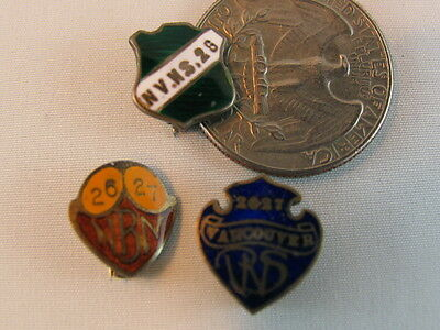 1926-27 Enamel & Sterling Vancouver BC School Pins ~ Group of Three