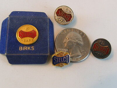 Lot of Stelco Service Award Pins ~ 2 Sterling and 2 10k gold ~ Mappins and Birks