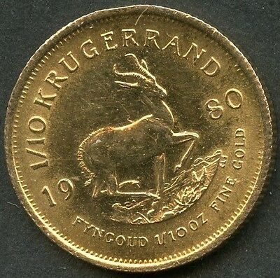 South Africa 1980  1/10 Ounce Kruggerand Gold Coin As Shown