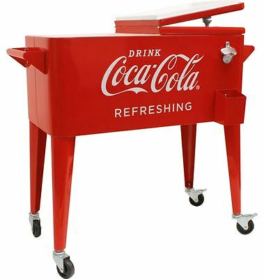 Coca Cola Cooler on Wheels Insulated Ice Chest Fridge Retro 80 Qt Metal Coke New
