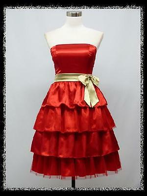 dress190 RED STRAPLESS 50s BRIDESMAIDS COCKTAIL EVENING PARTY PROM DRESS 18-20
