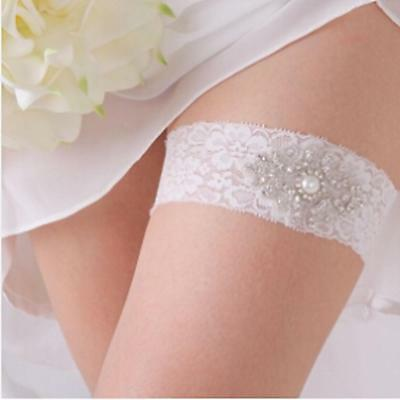 Charming Women's Crystal Elastic White Lace Bridal Wedding Prom Garter Gift