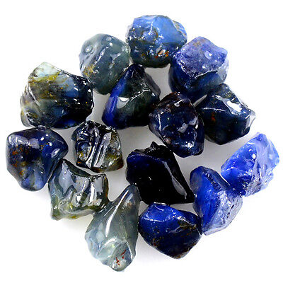 UNHEATED! 15pcs, 22.90ct NATURAL100% UNHEATED BLUE SAPPHIRE ROUGH SPECIMEN NR!