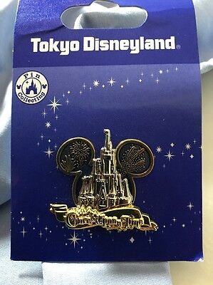 Disney Pin Tokyo Disneyland Once Upon a Time Castle Fireworks Mickey Ears Japan