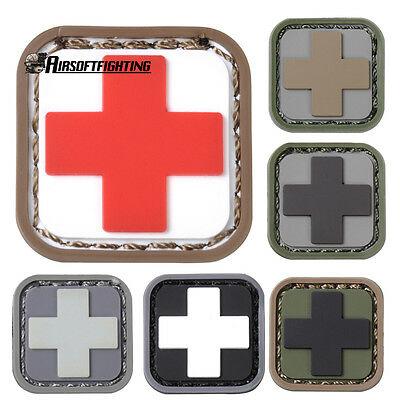 Tactical Medic Cross First Aid EMS Hunting Morale Hook Loop PVC Patch
