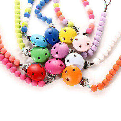 Infant Baby Toddler Dummy Pacifier Soother Wood Nipple Shield Chain Clip Holder