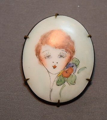 Hand Painted Vintage 1920's Flapper Girl Porcelain Brooch!  WOW!