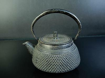 E9663: Japanese Iron Arare pattern SMALL TEA KETTLE Teapot Nambu Tetsubin
