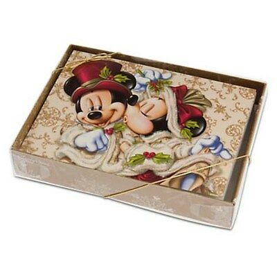 Mickey and Minnie Mouse Victorian Christmas Card - Pack of 14 - Genuine - NEW